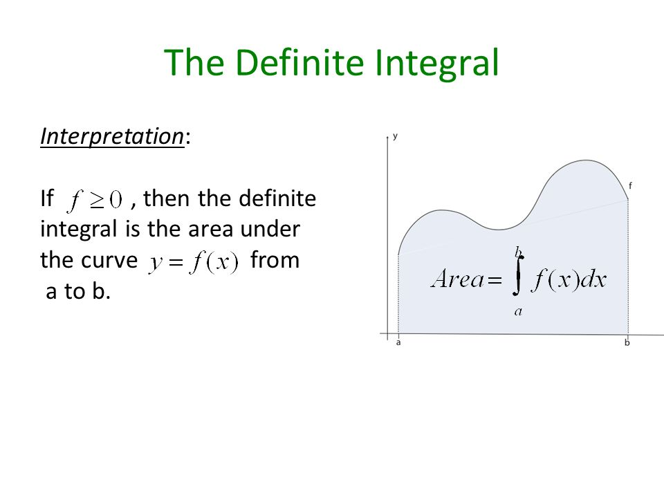 The Definite Integral Interpretation: If, then the definite integral is the area under the curve from a to b.