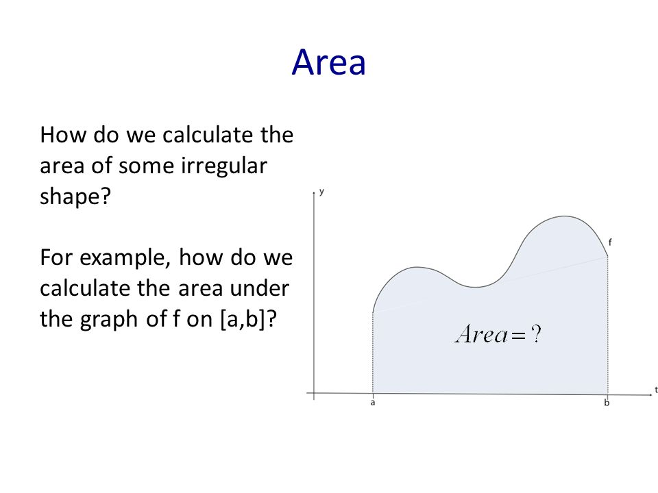 Area How do we calculate the area of some irregular shape.
