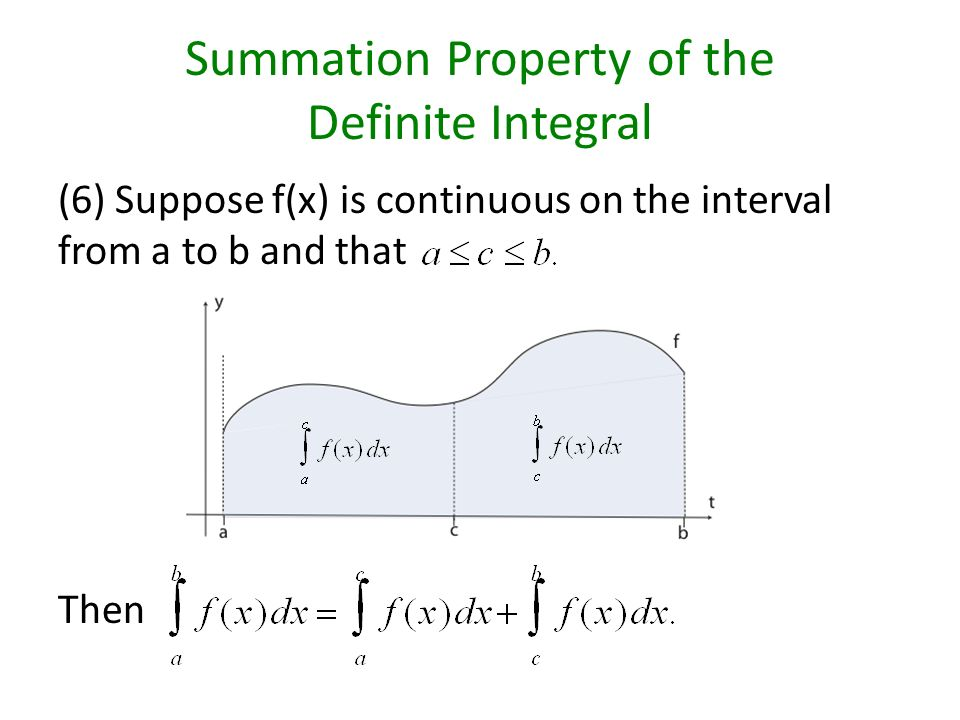 Summation Property of the Definite Integral (6) Suppose f(x) is continuous on the interval from a to b and that Then