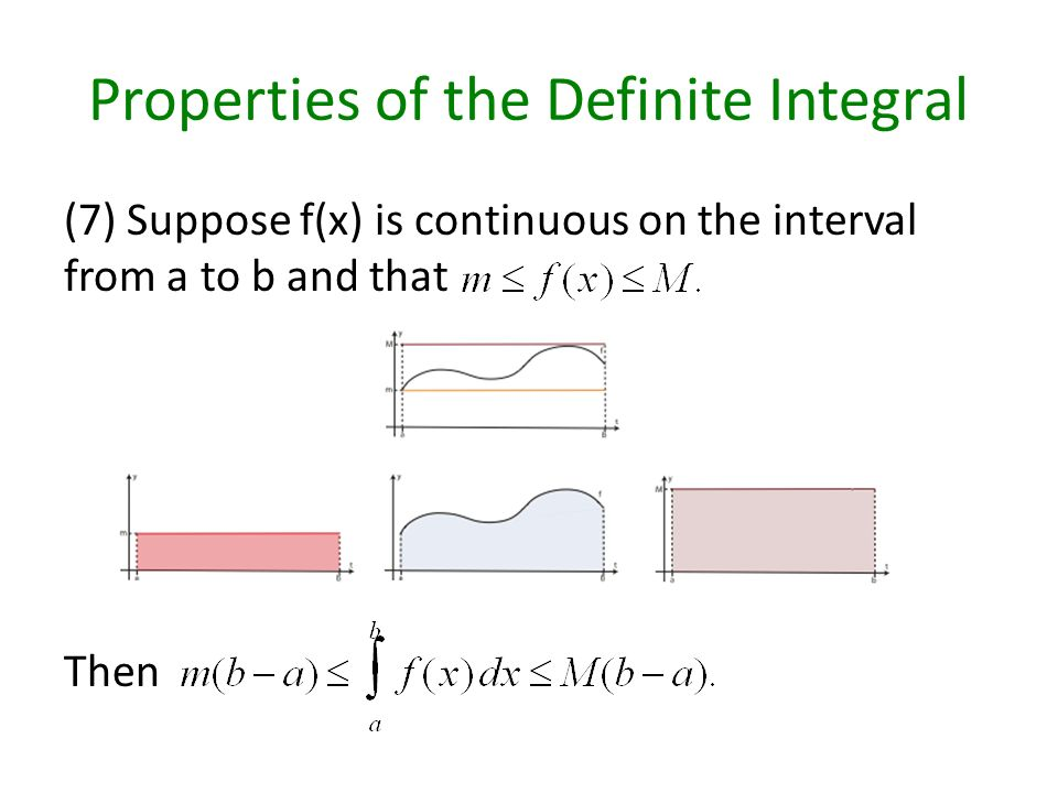 Properties of the Definite Integral (7) Suppose f(x) is continuous on the interval from a to b and that Then