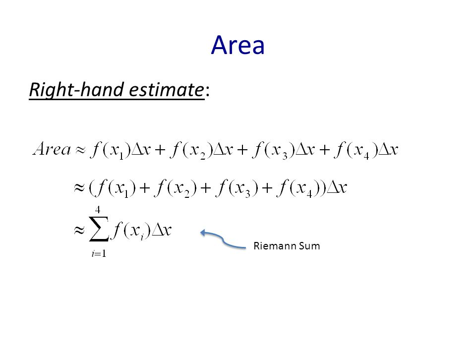 Area Right-hand estimate: Riemann Sum