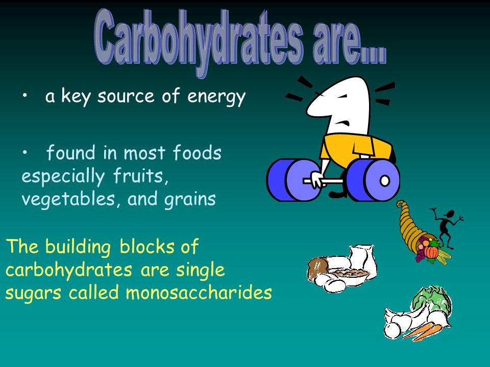 a key source of energy found in most foods especially fruits, vegetables, and grains The building blocks of carbohydrates are single sugars called monosaccharides
