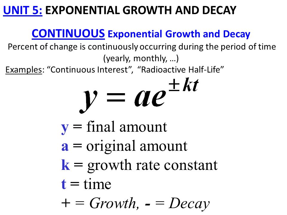 unit 5: exponential growth and decay continuous exponential growth