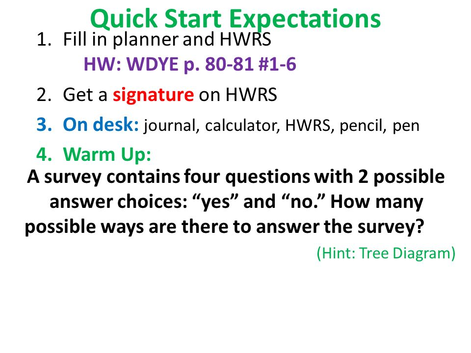 quick start expectations 1 fill in planner and hwrs hw wdye p 1 6