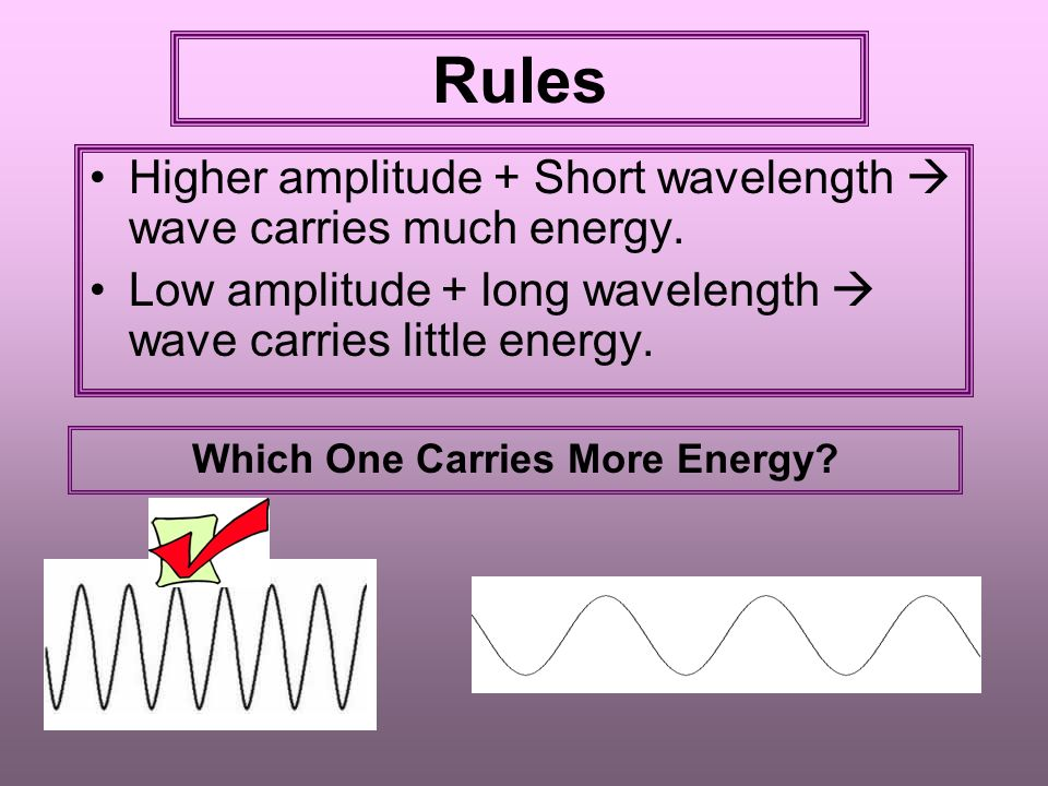 Rules Higher amplitude + Short wavelength  wave carries much energy.