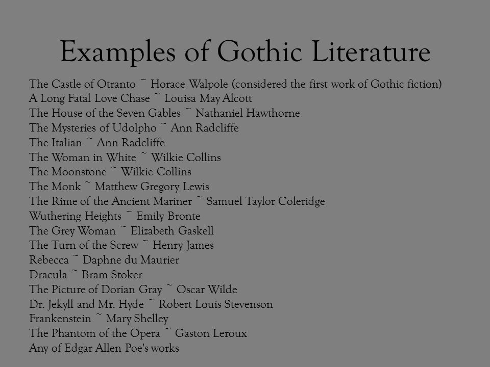 Gothic novel definition and examples