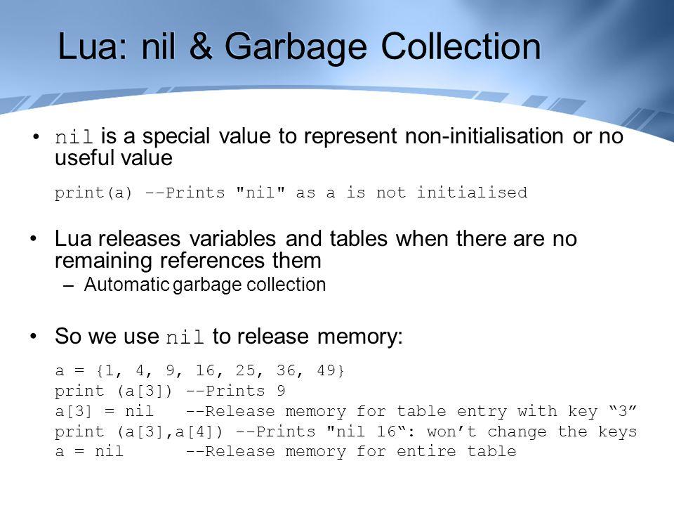 Games Development 2 Lua Scripting CO3301 Week 6  Contents