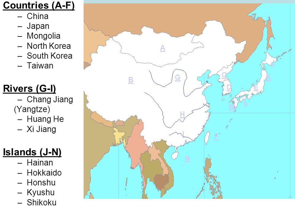 East Asia Map. Japan China North Korea South Korea Huang He ...