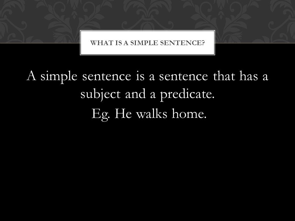 A simple sentence is a sentence that has a subject and a predicate.