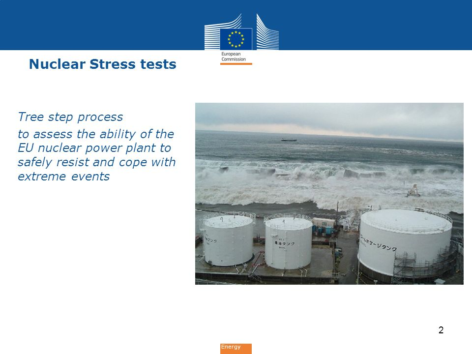 Energy Nuclear Stress tests Tree step process to assess the ability of the EU nuclear power plant to safely resist and cope with extreme events 2