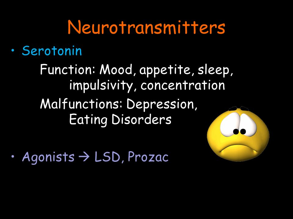 Serotonin Function: Mood, appetite, sleep, impulsivity, concentration Malfunctions: Depression, Eating Disorders Agonists  LSD, Prozac Neurotransmitters