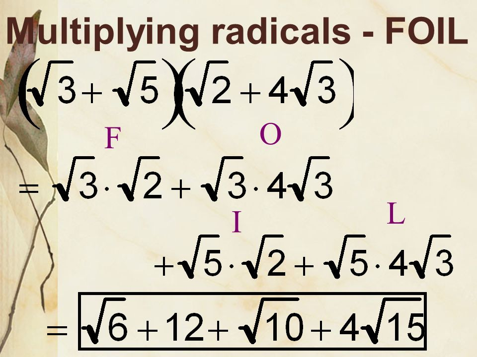 Multiplying radicals - Distributive Property