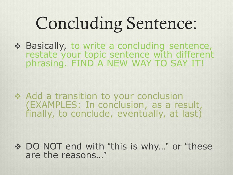 how to write your conclusion