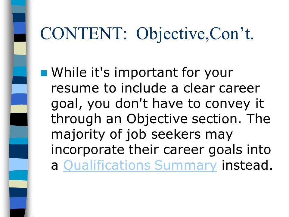 summary of career goals