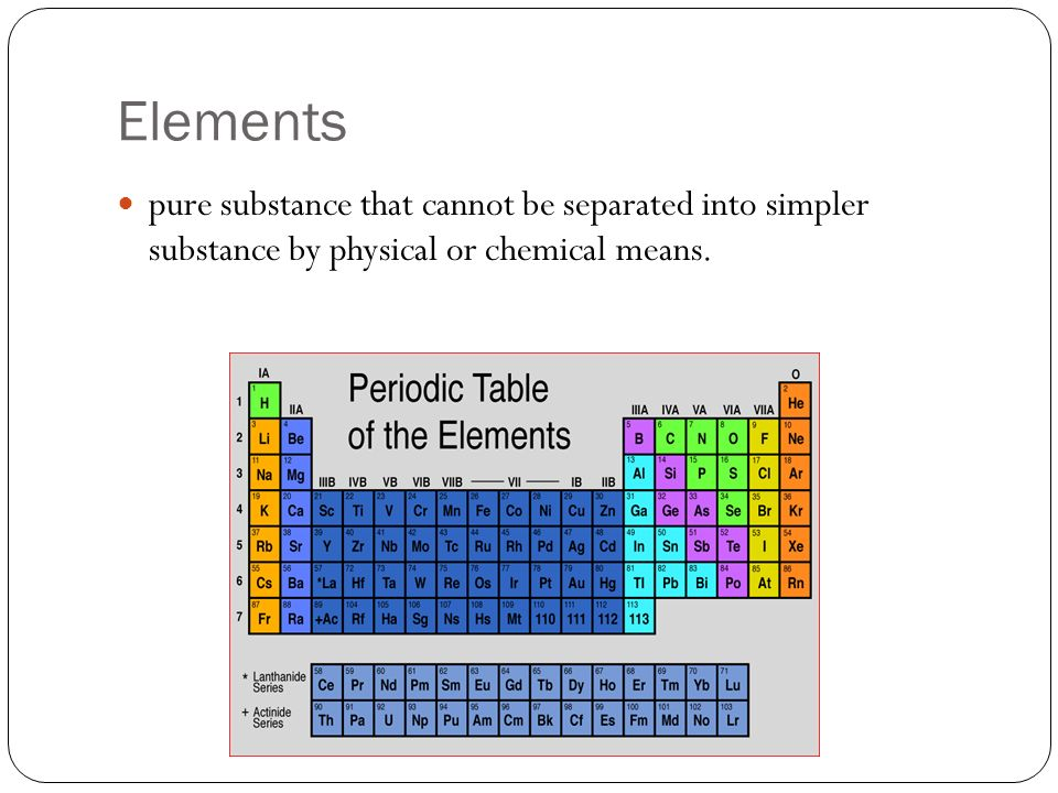 Pure Substances A sample of matter that has definite chemical and physical properties.