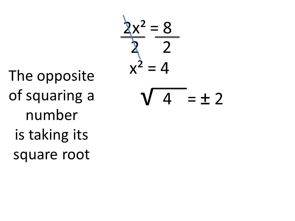 2x² = 8 22 x² = 4 The opposite of squaring a number is taking its square root √ 4= ± 2