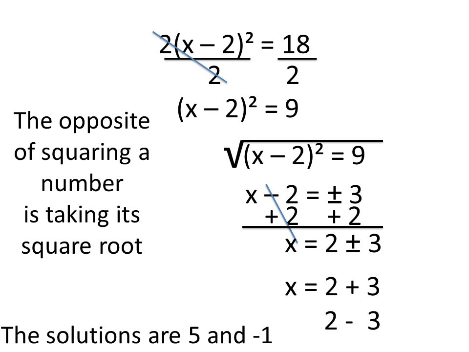 2(x – 2)² = (x – 2)² = 9 The opposite of squaring a number is taking its square root √ (x – 2)² = 9 x – 2 = ± x = 2 ± 3 x = The solutions are 5 and -1