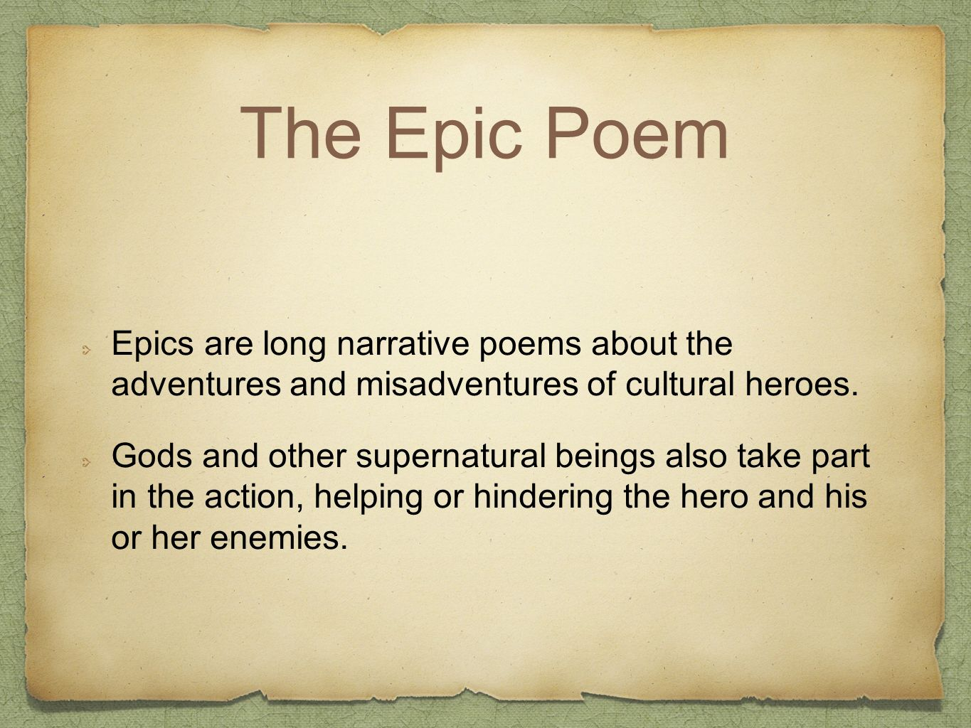 HOMER The Odyssey  The Epic Poem Epics are long narrative