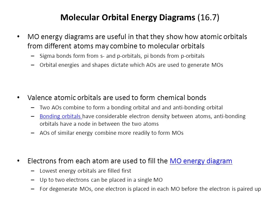 Molecular Orbital Energy Diagrams 167 Mo Energy Diagrams Are