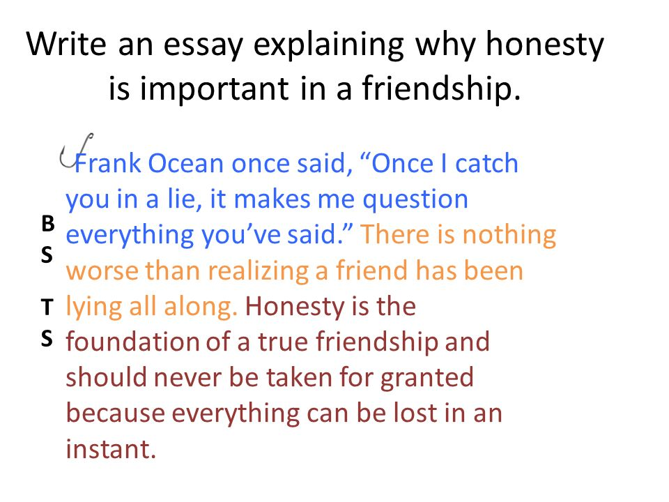 Example Of An English Essay Write An Essay Explaining Why Honesty Is Important In A Friendship Thesis Support Essay also Essays On Science And Religion Expository Introductions Student Notes Hook Broad Statement  My English Essay