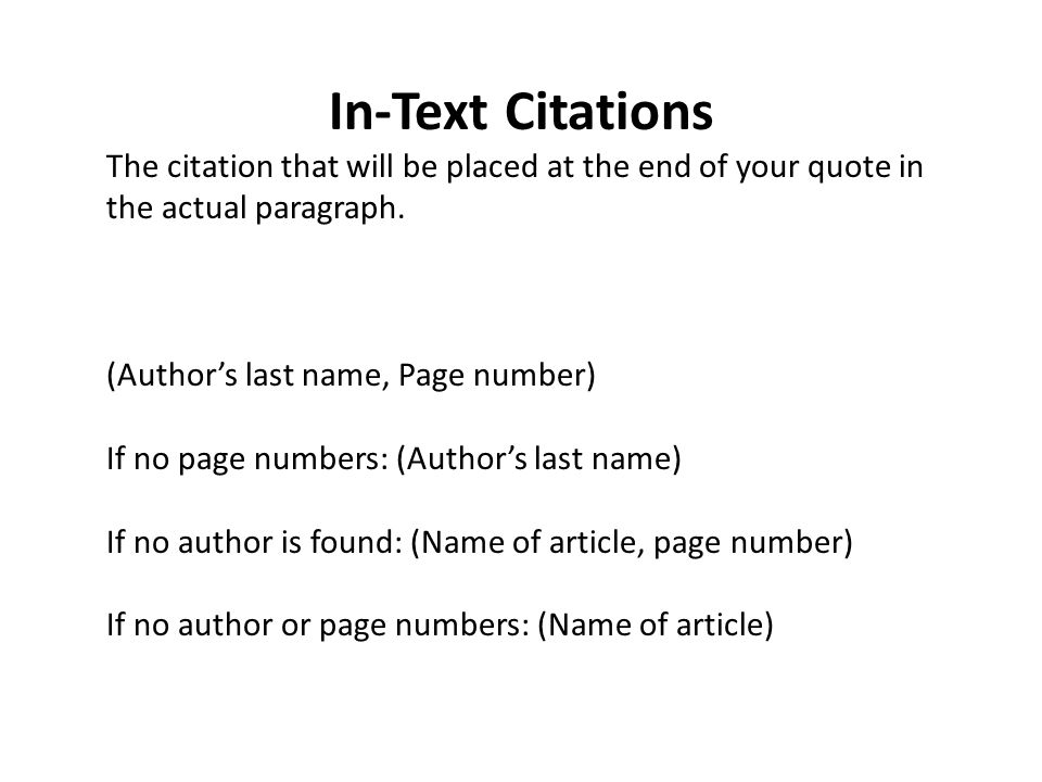 Research Notecards Include The In Text Citation For The Quote