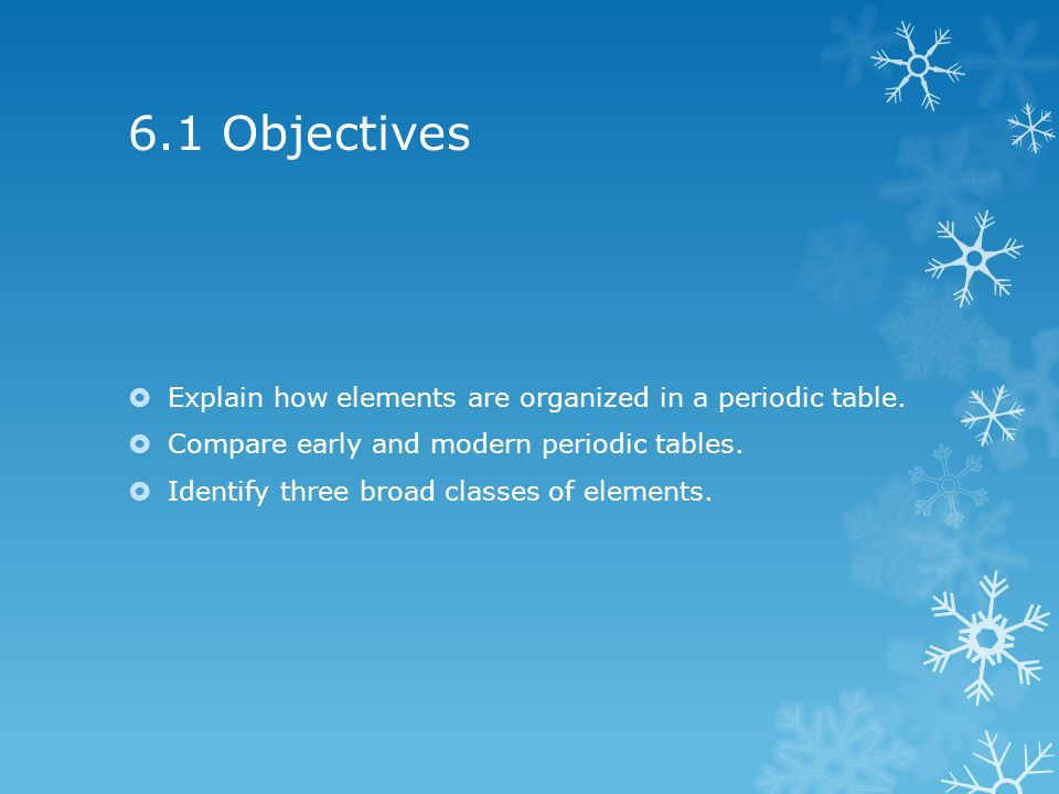 Chapter 6 The Periodic Table 61 Objectives Explain How Elements