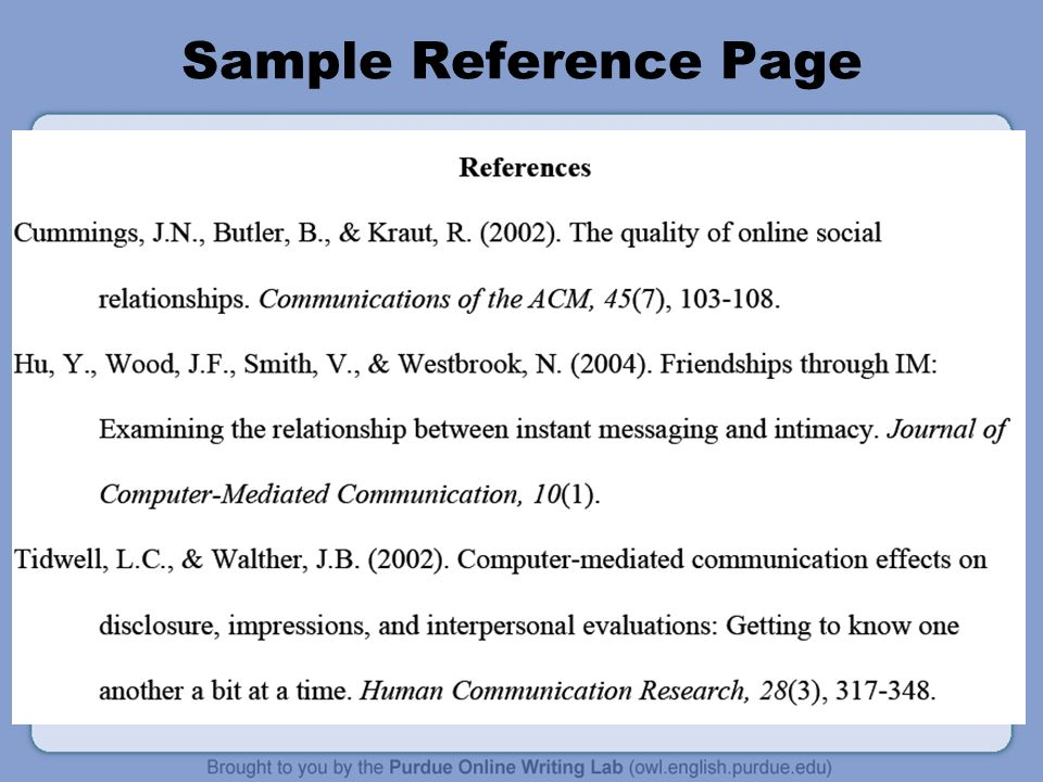 Apa formatting and style guide information from the owl at purdue 6 sample reference page ccuart Gallery