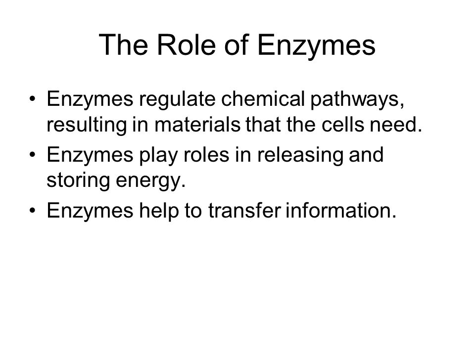 The Role of Enzymes Enzymes regulate chemical pathways, resulting in materials that the cells need.
