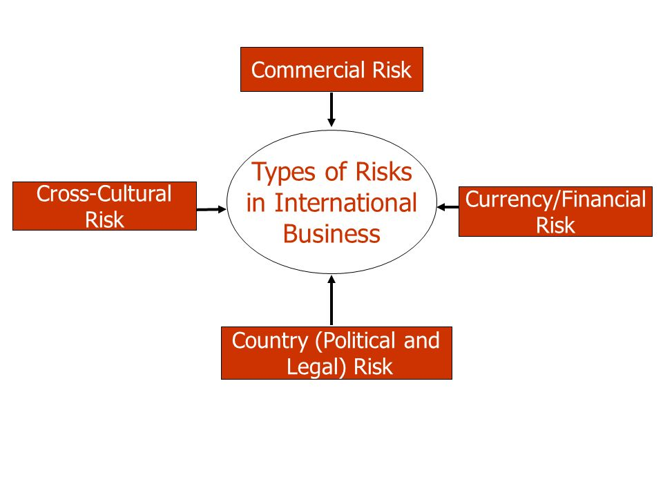 Types of Risks in International Business Commercial Risk Country (Political and Legal) Risk Cross-Cultural Risk Currency/Financial Risk