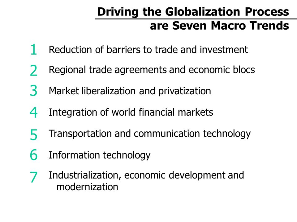Driving the Globalization Process are Seven Macro Trends Reduction of barriers to trade and investment Regional trade agreements and economic blocs Market liberalization and privatization Integration of world financial markets Transportation and communication technology Information technology Industrialization, economic development and modernization