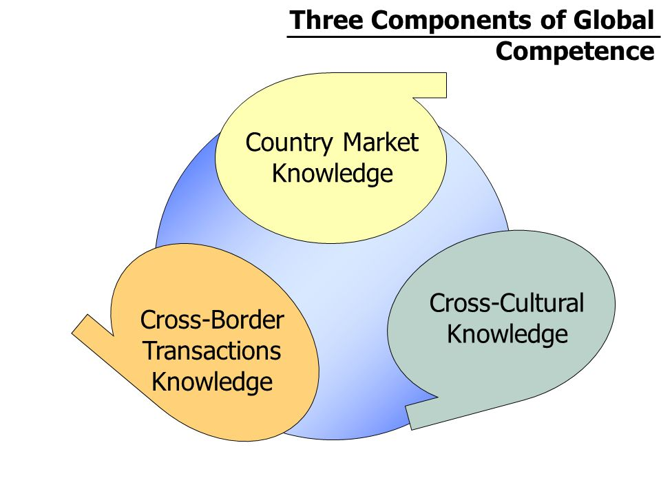 Three Components of Global Competence Country Market Knowledge Cross-Cultural Knowledge Cross-Border Transactions Knowledge