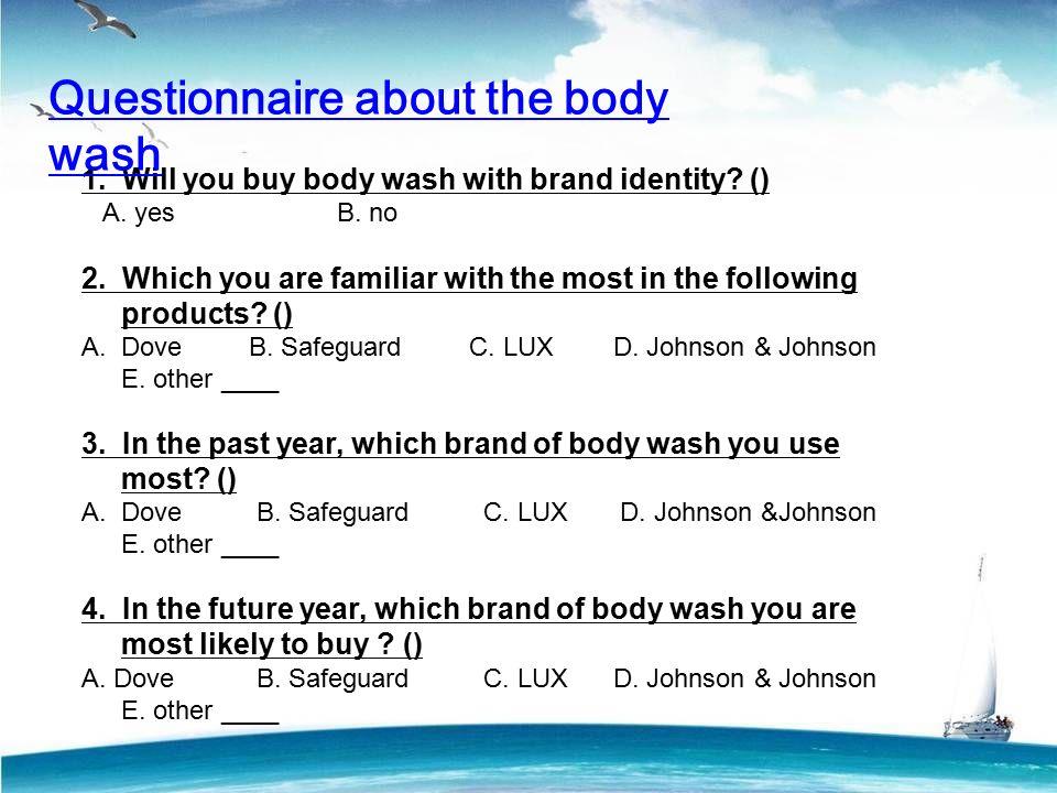 questionnaire on dove shampoo