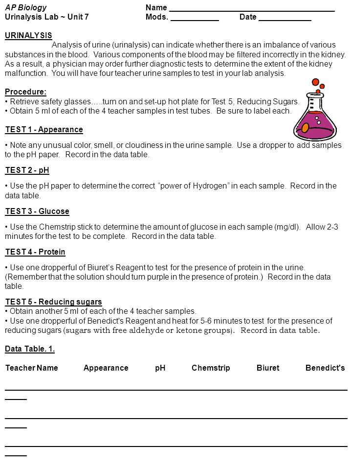 AP BiologyName Urinalysis Lab ~ Unit 7Mods. ___________Date ______ ...