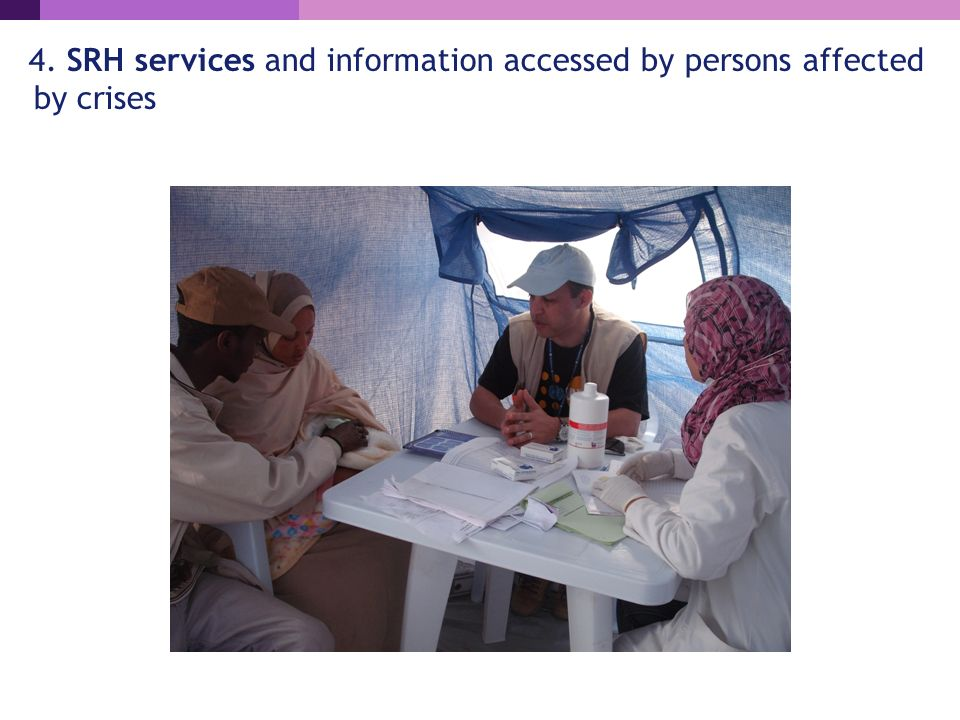 4. SRH services and information accessed by persons affected by crises