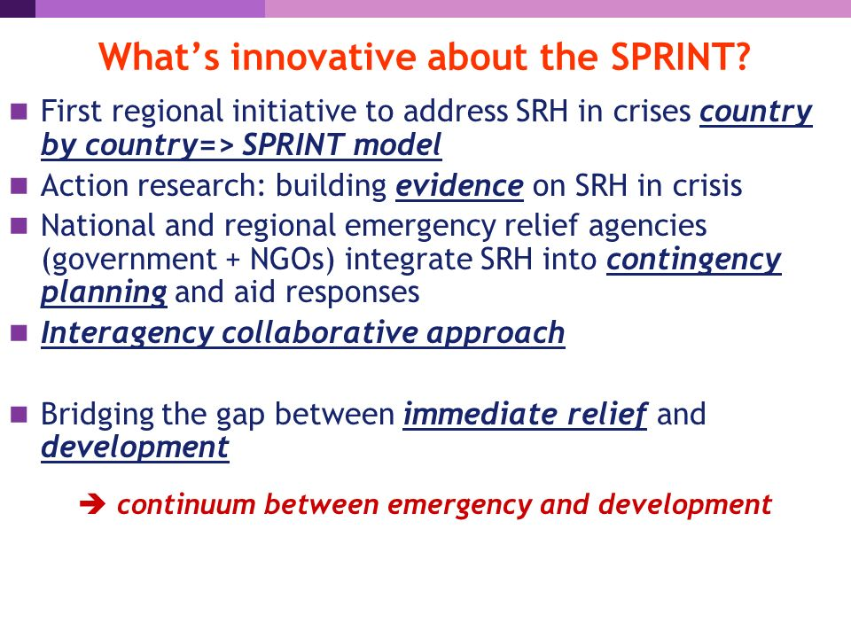 What's innovative about the SPRINT.