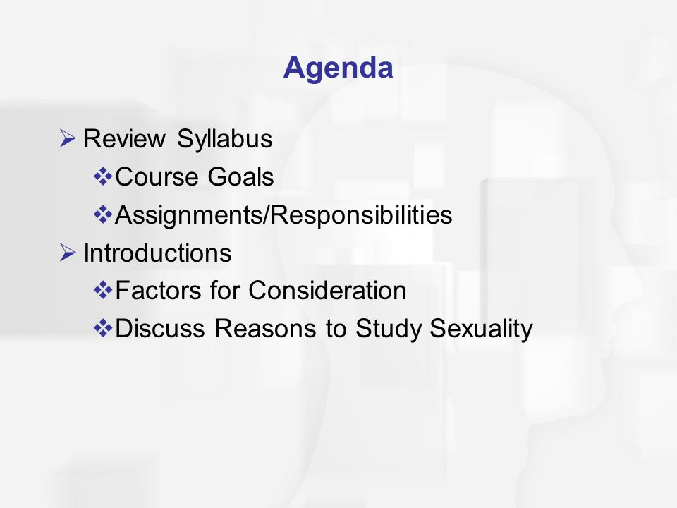 Human Sexuality Course Syllabus
