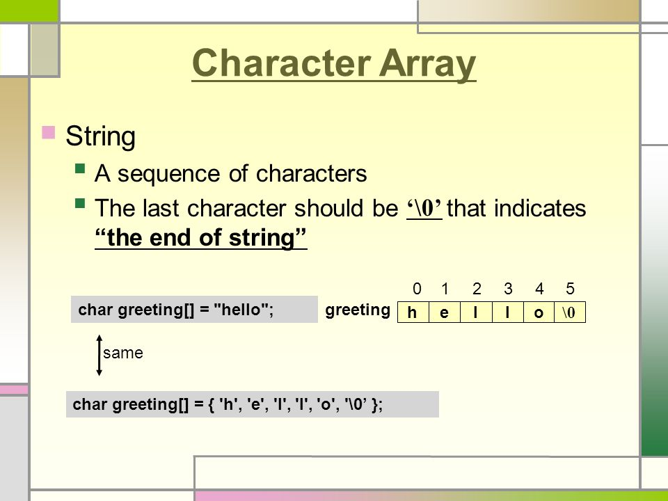 C Programming Lecture 10-1 : Array & Pointer  Character