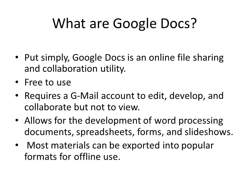 Using Google Docs Objectives Google Docs Overview Create Gmail - Google docs personal