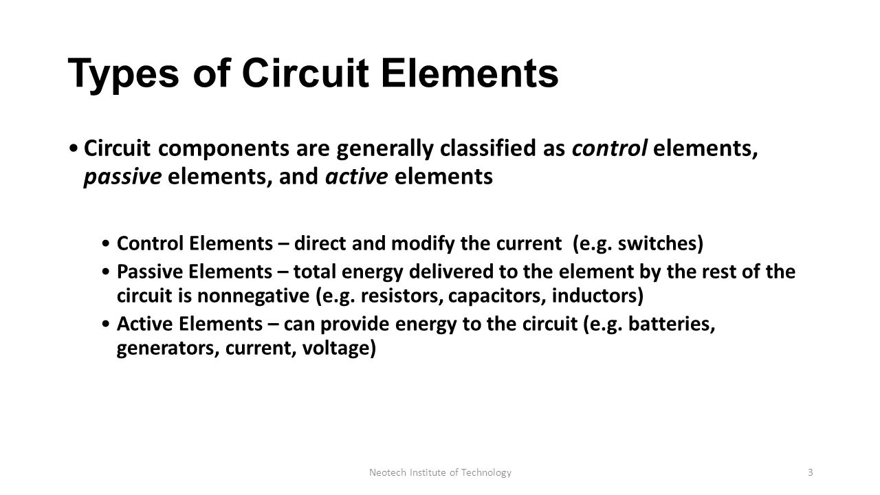 Elementary Concept Of Dc Circuit Department Electrical Voltage Controlled Capacitors And Inductors Types Elements Components Are Generally Classified As Control Passive