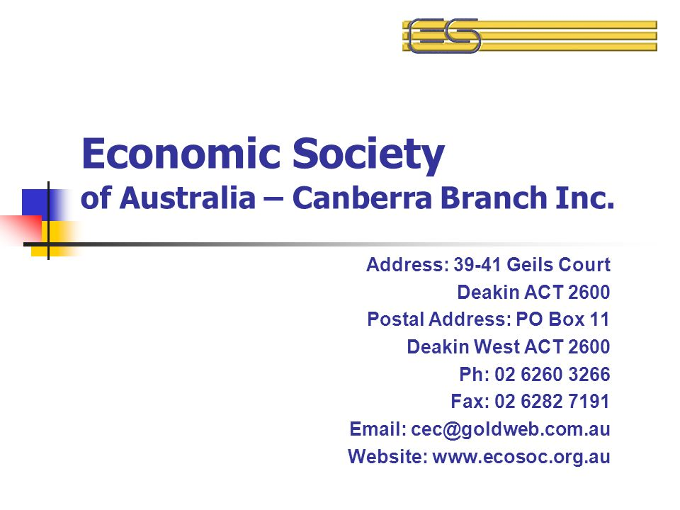 Economic Society Of Australia Canberra Branch Inc Address Geils