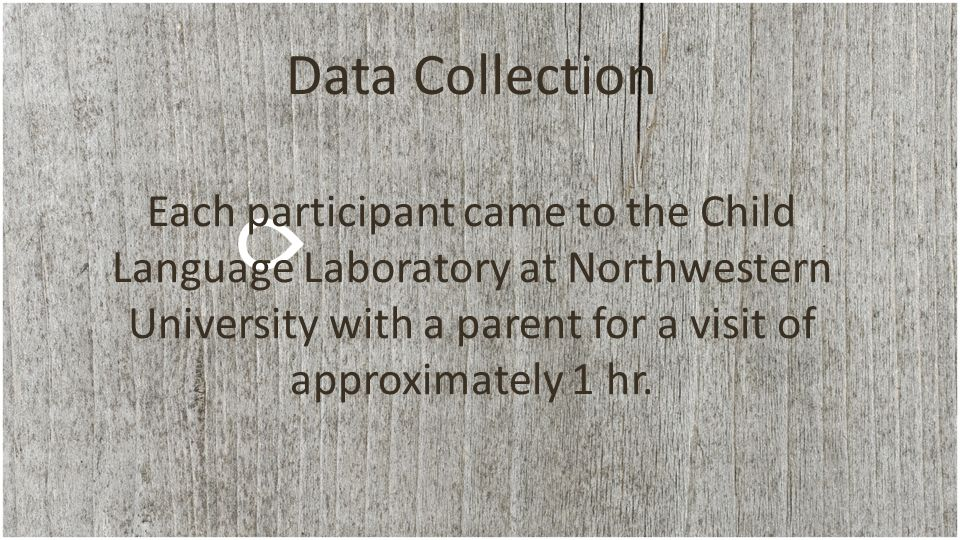 Data Collection Each participant came to the Child Language Laboratory at Northwestern University with a parent for a visit of approximately 1 hr.