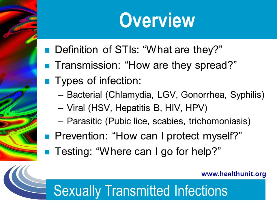 List of all known sexually transmitted infections parasites