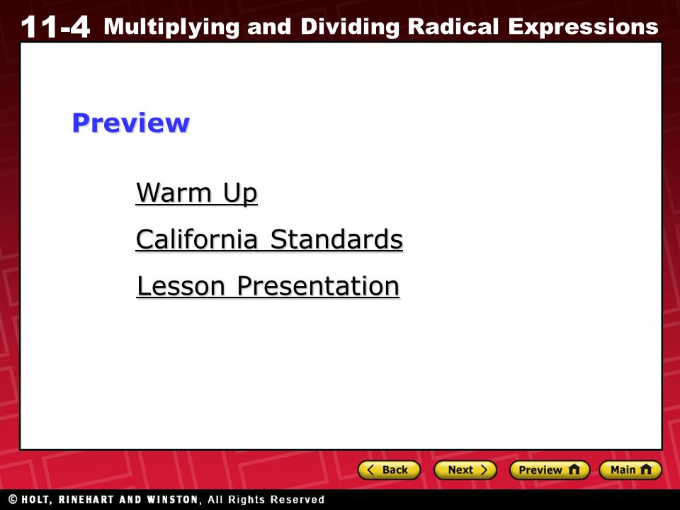 11 4 Multiplying And Dividing Radical Expressions Warm Up Warm Up