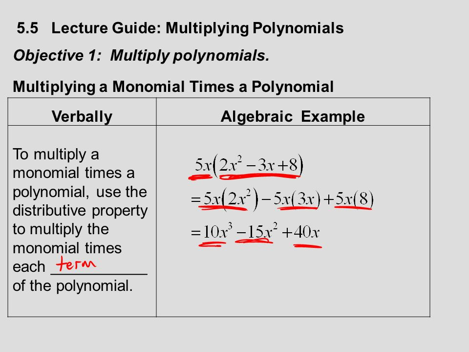 Section 55 Multiplying Polynomials 55 Lecture Guide Multiplying
