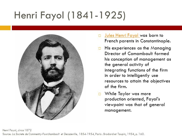 difference between frederick taylor and henri fayol Fayol's approach was towards the general function of mgmt 5difference in approach: taylor laid stress on the importance of the efficiency thus, taylor confined to production mgmt fayol gave importance to the principle of university of the mgmt.