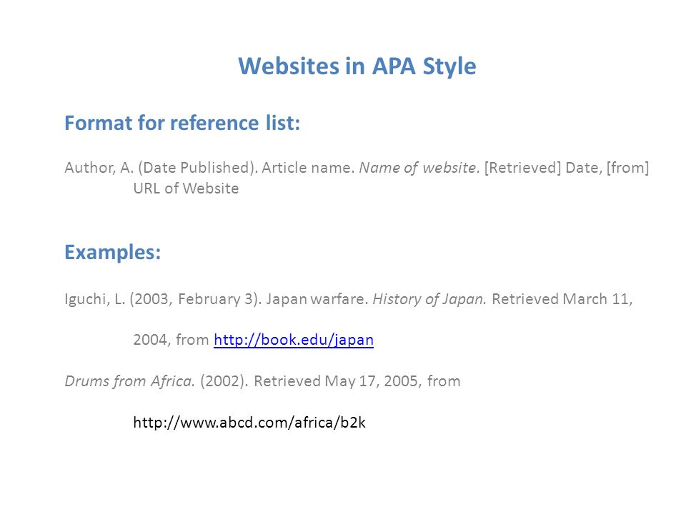 Some Help With APA Citing A Website When Citing A Website In APA