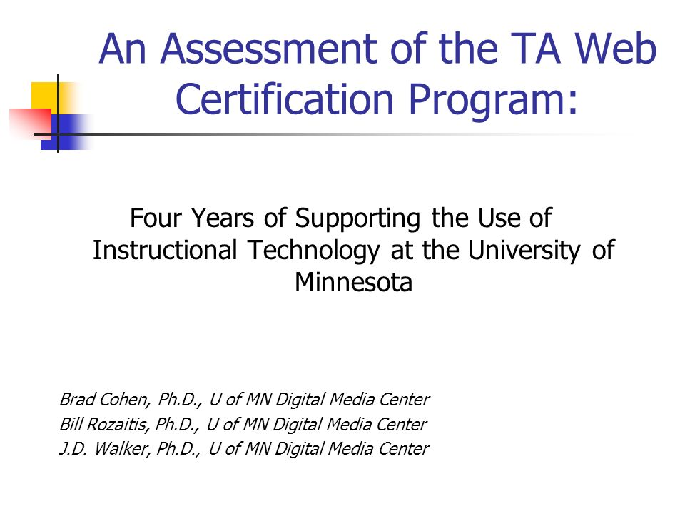 An Assessment Of The Ta Web Certification Program Four Years Of