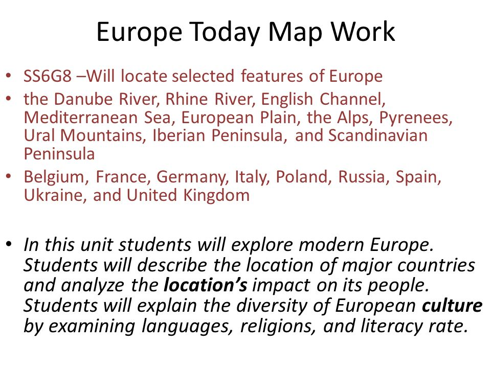 Europe Today Map Work SS6G8 –Will locate selected features of Europe ...