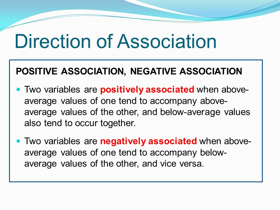 Direction of Association POSITIVE ASSOCIATION, NEGATIVE ASSOCIATION Two variables are positively associated when above- average values of one tend to accompany above- average values of the other, and below-average values also tend to occur together.