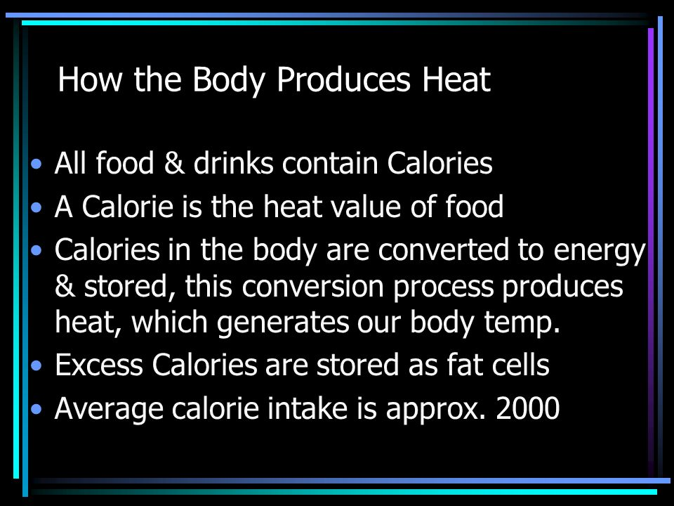 Image result for body producing heat